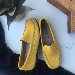 A'RCOPEDICO }{ Mustard Yellow Suede Loafers